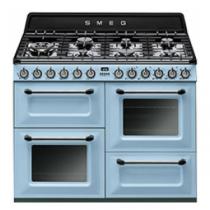 Cuisinière Victoria 110cm 2 fours Vapor Clean 63l + 1 gril / 7 brûleurs gaz Bleu Azur - SMEG Réf. TR4110AZ