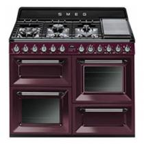 Cuisinière Victoria 110cm 2 fours Vapor Clean 63l + 1 gril / 7 brûleurs gaz Bordeaux - SMEG Réf. TR4110RWF