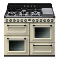 Cuisinière Victoria 110cm 2 fours Vapor Clean 63l + 1 gril / 7 brûleurs gaz Crème - SMEG Réf. TR4110PF
