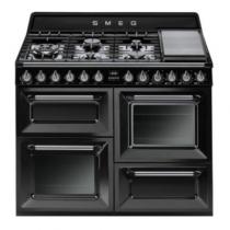 Cuisinière Victoria 110cm 2 fours Vapor Clean 63l + 1 gril / 7 brûleurs gaz Noir - SMEG Réf. TR4110BLF