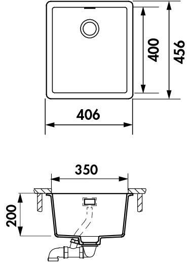 Cuve sous-plan Nocturne 40.6x45.6 Luisigranit Nera - LUISINA Réf. EVSP8100P118