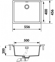 Cuve sous-plan Nocturne 55.6x45.6 Luisidiam Polaris - LUISINA Réf. EVSP8000L106