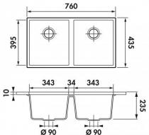 cuve sous plan quadrille 76x43 5 luisigranit blanc alpin luisina r f evsp983116e. Black Bedroom Furniture Sets. Home Design Ideas