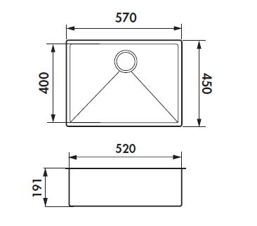 cuve sous plan vibrato 57x45 luisinox satin vidage tirette chrom e 6 luisina r f evsp54il6. Black Bedroom Furniture Sets. Home Design Ideas