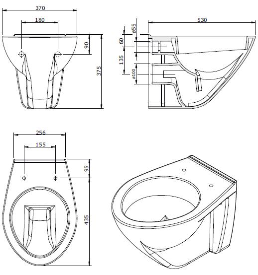 Cuvette suspendue Cetus avec abattant à charnières déclipsables Blanc - SANINDUSA Réf. 110933