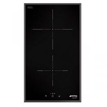 Domino induction 30cm 2 foyers Noir bord biseauté - SMEG Réf. SI5322B