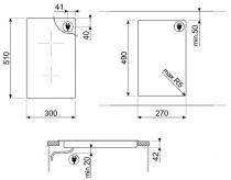 Domino vitrocéramique 30cm 2 foyers Noir - SMEG  Réf. SE332EPB