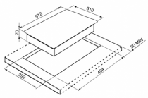 Domino vitrocéramique 30cm 2 zones cadre Inox - SMEG Réf. PGF32C