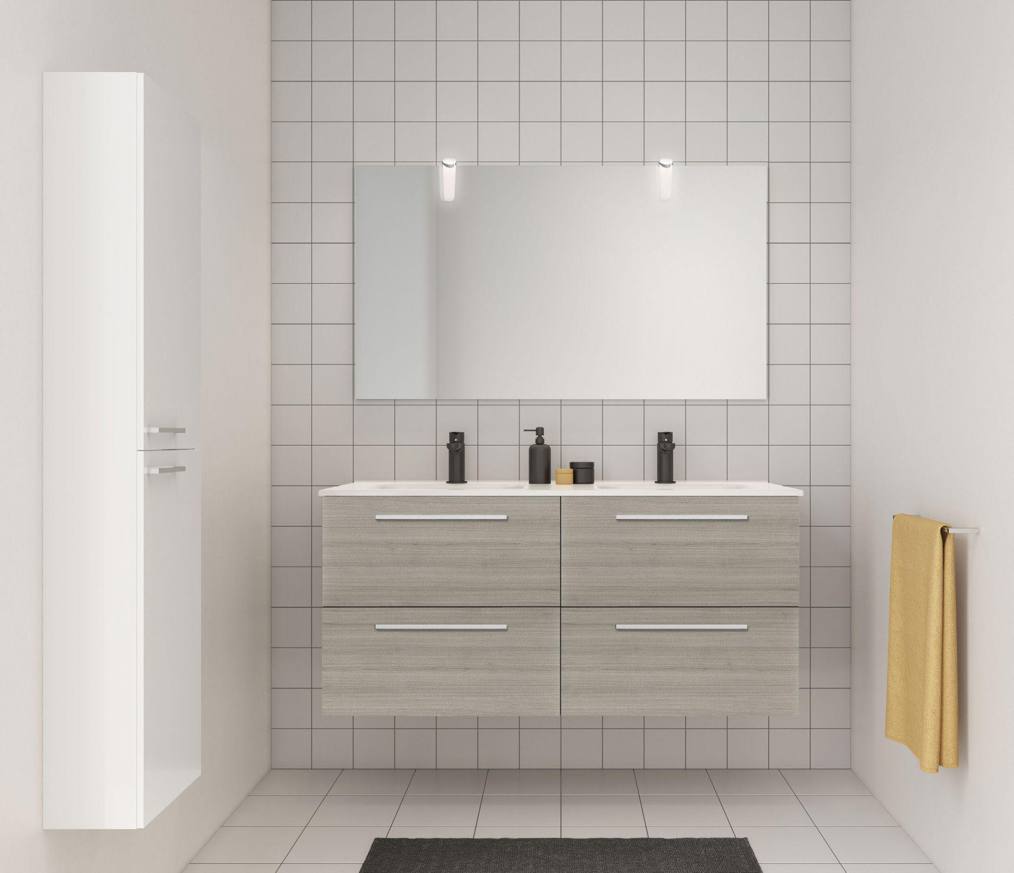 Ensemble 120 meuble SAPHIR 4 tiroirs 45 GRIS SABLE + plan SLIM - ROYO Réf. C0070950