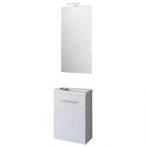 Ensemble meuble Micro 40cm 1 porte Blanc + vasque + miroir + applique led - SALGAR Réf. 25352