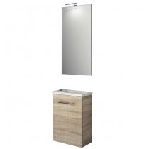 Ensemble meuble Micro 40cm 1 porte Chêne calédonie + vasque + miroir + applique led - SALGAR Réf. 25354
