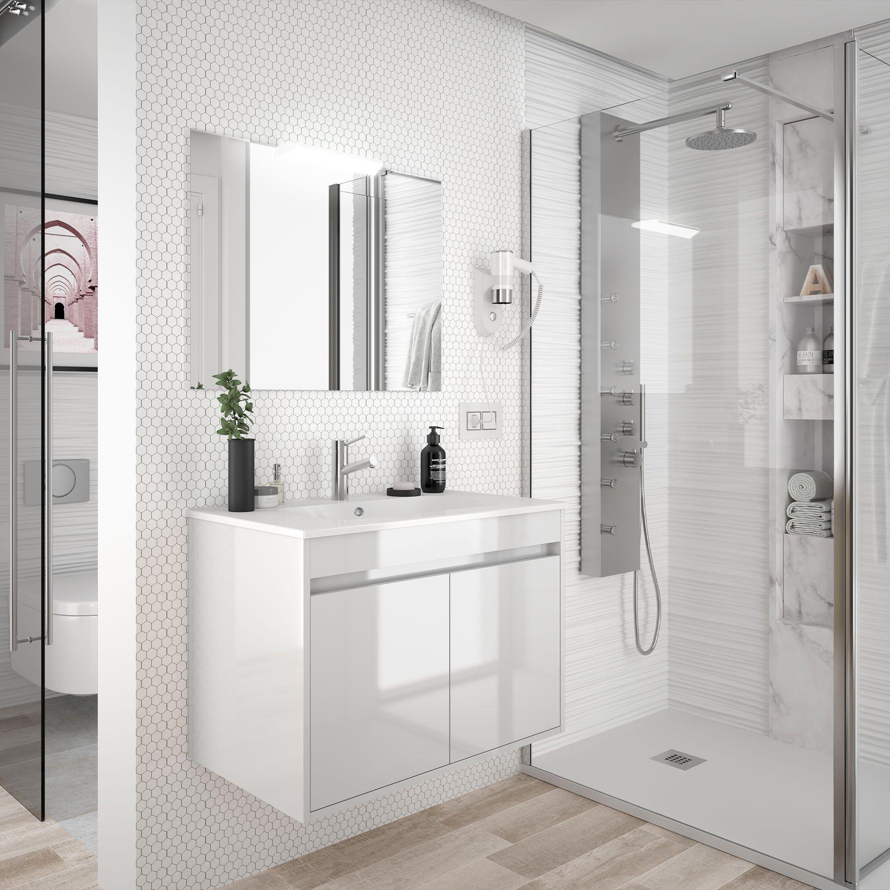 Ensemble Salgar Noja 70 Cm 2 Portes Blanc Brillant Meuble Vasque Miroir En Option