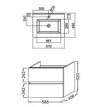 Ensemble TOBIAC 60 cm 2 tiroirs - Finition mélaminé Chêne Colorado - JACOB DELAFON EB2350-ECD