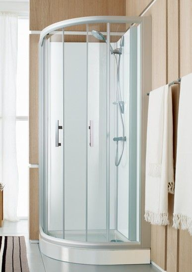 espace douche quart de rond access confort 91x91 portes coulissantes fond blanc vitrage. Black Bedroom Furniture Sets. Home Design Ideas