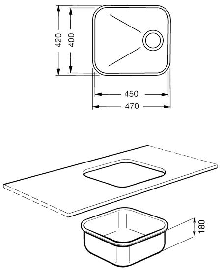 Evier 1 cuve Alba 47cm vidage manuel Inox - SMEG Réf. UM45