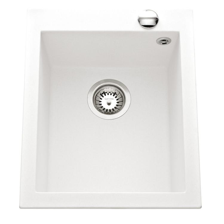 Evier 1 cuve quadrille 41x50 luisigranit blanc alpin for Evier blanc 1 cuve