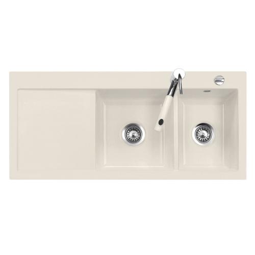 evier 2 cuves droite amor 110x51 avec gouttoir luisic ram magnolie luisina r f ev5078d208. Black Bedroom Furniture Sets. Home Design Ideas