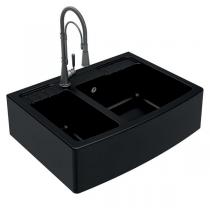 Evier 2 cuves Clotaire 89.8x66.1cm Luisigranit Noir - LUISINA Réf. EV9529009
