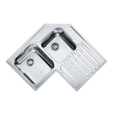 Evier d 39 angle 2 cuves galassia gat621e 830 x 830 avec for Evier franke inox microdekor