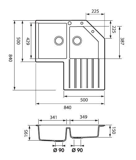 Evier d 39 angle 2 cuves 84x84 avec gouttoir droite - Evier de cuisine d angle ...