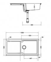 Evier réversible 1 cuve Kite 105 100x50cm Fradeko Blanc - FRANKE Réf. 167871