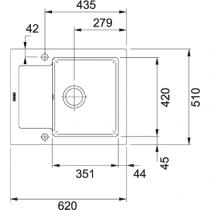 Evier réversible 1 cuve Maris MRK611-62 62x51 avec égouttoir Fraceram Anthracite mat - FRANKE Réf. 906368