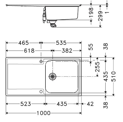 Evier réversible 1 cuve Maris MRX211 1000x510mm Inox - FRANKE Réf. 006884