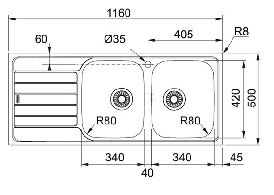 Evier réversible 2 cuves Spark SKL621 1160x500mm avec égouttoir Inox-DEKOR - FRANKE Réf. 006464