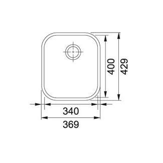Evier sous plan 1 cuve Armonia AMT110-34 370 x 430 vidage manueInox - FRANKE Réf. 000342