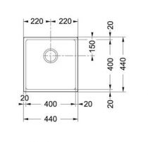Evier sous plan 1 cuve Domus DMD110-40 440 x 440 Fradura Platinum - FRANKE Réf. 652932