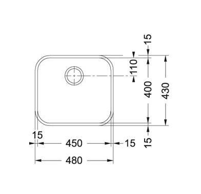 Evier sous plan 1 cuve Galassia GAX110-45 480 x 430 Inox - FRANKE Réf. 026342
