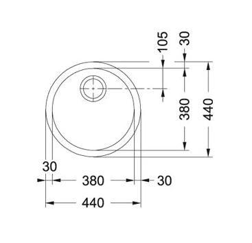 Evier sous plan 1 cuve Rotondo RBX110-38 Ø 440 vidage automatique Inox - FRANKE Réf. 012918