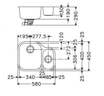 Evier sous plan 2 cuves Armonia AMX160 58x45cm vidage manuel Inox - FRANKE Réf. 640705