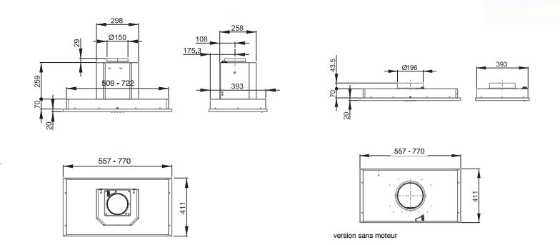 groupe aspirant altima 57cm sans moteur inox roblin r f. Black Bedroom Furniture Sets. Home Design Ideas