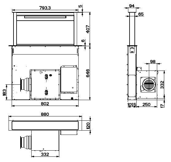 Hotte de plan Zelie 90cm 700m3/h verre Noir - ROBLIN Réf. 5057002