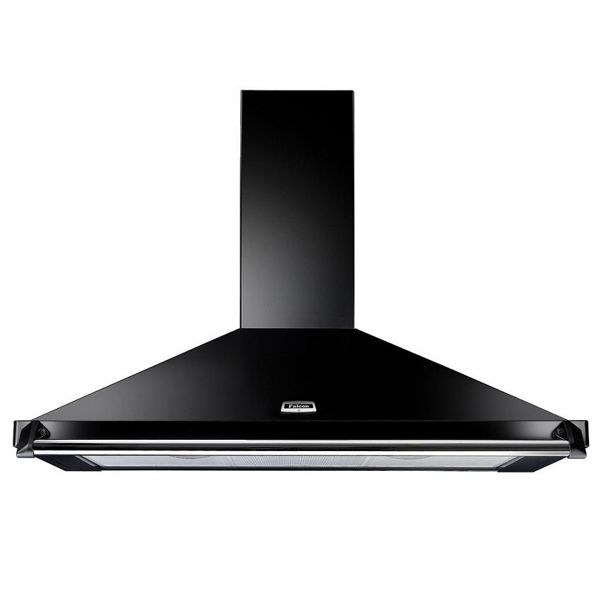 Hotte d corative falcon classic noir falhdc90bc 90cm 660m3 h avec barre et ba - Hotte decorative noire 90 cm ...