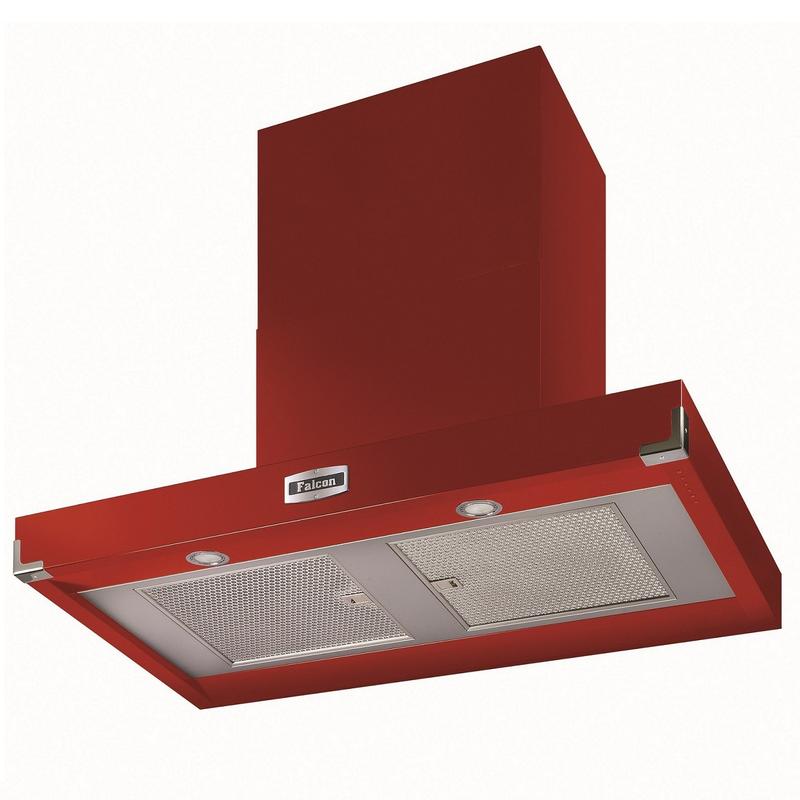 hotte d corative falcon contemporaine plate rouge cerise fhdct1090rd n 110cm 1000m3 h. Black Bedroom Furniture Sets. Home Design Ideas