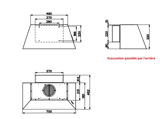 Hotte décorative Margaux 70cm 700m3/h Fonte - ROBLIN Réf. 5067012