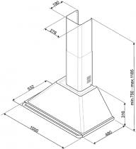 Hotte décorative pyramidale 100cm 787m3/h Crème - SMEG Réf. KT100PE