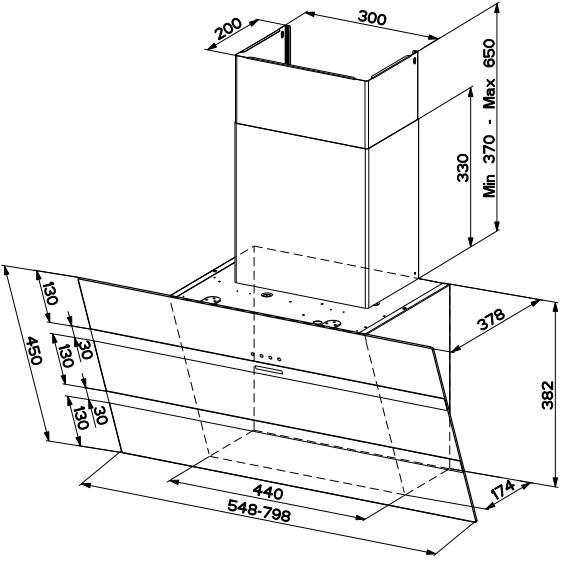 Hotte inclinée Steelmax 55cm 730m3/h Inox / Blanc - FABER Réf. 5513340