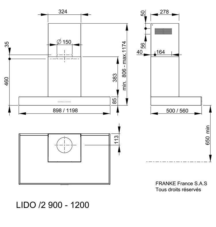Hotte décorative Lido 90cm sans moteur Inox - ROBLIN Réf. 6033101