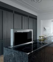 Hotte plan de travail Elina 90cm 700m3/h Inox / verre Noir - ROBLIN Réf. 5057003