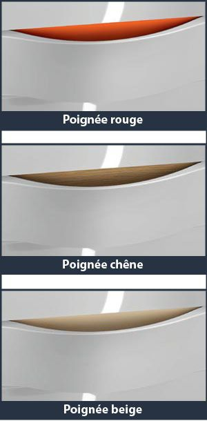 ILLUSION - Meuble vasque H65 - L100  - 3 tiroirs - Vasque céramique - Poignées rouge - DECOTEC Réf. 1816191