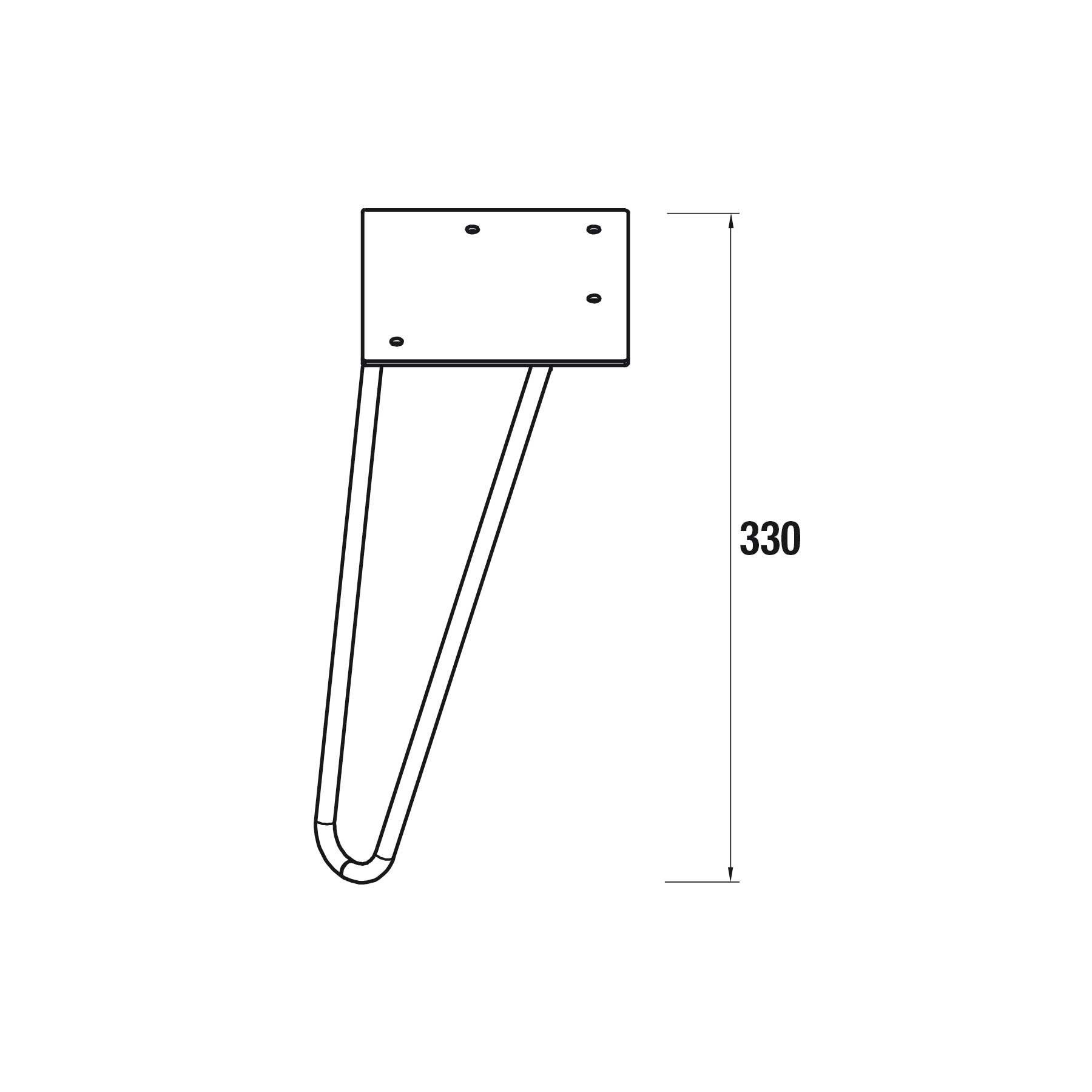 Jeu de 2 pieds Uniiq 33 cm Noir - SALGAR Réf. 24714