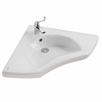 Lavabo d\'angle New WCCare 62x62cm percé 1 trou Blanc - SANINDUSA Réf. 129700
