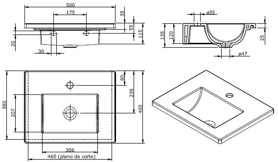 Lavabo Palm 50x40cm Blanc - SANINDUSA Réf. 109810