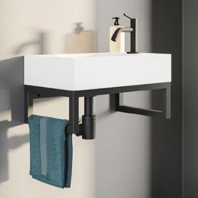 Lave-mains CAMDEM PACK 40cm Blanc Mat porte serviettes Noir - AQUARINE Réf. 824874