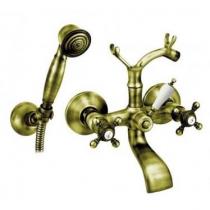 Mélangeur bain-douche Classique 1866 avec douchette et flexible Laiton vieilli - GRB Réf. 206199