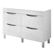 Meuble à poser Beluga 120cm 4 tiroirs Blanc bandeau Gris - OZE Réf. CAISBELUGA1200G
