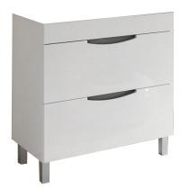 Meuble à poser Beluga 80cm 2 tiroirs Blanc bandeau Gris - OZE Réf. CAISBELUGA800G